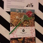 Great welcome for Saint Goerge´s Day---a candy rose, a book about Barcelona, and a personal note