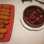 Croquetas de jamón y choricillos a la sidra