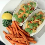 Our lunch Spicy Fish Tacos - grilled mahi mahi, pineapple chipotle salsa, voodoo sauce and cilan