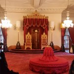 Ballroom where King and Queen entertain guests. The thrones are original pieces