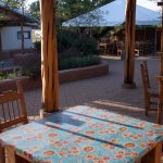 The outdoor dining/patio area