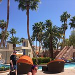 by the lazy river, bathrooms, Cabana Grill, + not too far from the hotel entrance & Wet Republic
