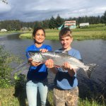 Wilson, a young anger, learned how to cast and caught a beautiful Coho Salmon all in the same da