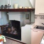 Küche mit offenem Kamin