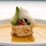 """Soup and Salad"" with Peekytoe Crab Salad and Charred Tomato Gazpacho"
