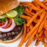 Stockyard Burger with Sweet Potato Fries!