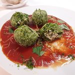 Spinach Knödel Witch Ricotta and Tomato Sauce