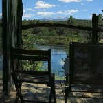 Bungalow Cabin deck looking at lake and mountains