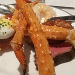 Eggs Benedict , Filet Minion, and Seafood Galore, Shrimp, Crab legs, Scallops, YUMMY!