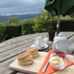 New style Cream Tea. Shame about the clouds on the day.