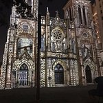 San Fernando Cathedral at night, blocks north