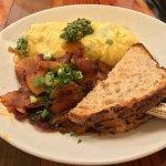 Marigold Potatoes, broccoli, mushroom, feta cheese and pesto omelette, Marigold French Toast. So