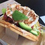 Chicken waffle sandwich with avocado