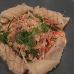 sesame & chili salt squid with hummus, pine nuts, cucumber? & mint yoghurt
