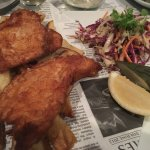 Tempura fish with chips (not shoestring)