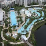 View of the pool and float lagoon from the 25th floor presidential suite