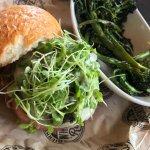 Mushroom burger with brocollini