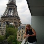 My wife on the balcony of the Pullman Hotel in Paris!!