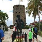 Blackbeard statue and watch tower