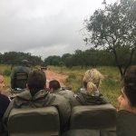 Vehículo de safari, con el ranger adelante, dia de lluvia