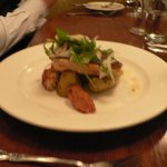 Grilled salmon, chorizo, octopus, preserved lemon & fennel salad with duck fat kipflers