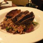 Sous-vide lamb rump $39 Marinated in saltbush & native spices with bush fruit, faro, freekeh & b