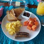 Healthy breakfast with homemade mango jam
