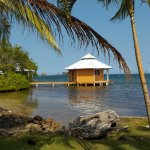 Quait yet comfortable cabanas over the water