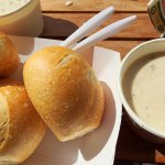 The famous clam chowder and the sourdough rolls!