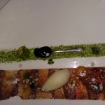 grass strip from parsley, and procuitto