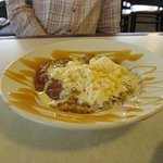 apple dessert with ice cream -