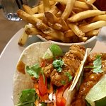 Sweet Thai chicken tacos with fries