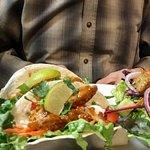 Sweet Thai chicken tacos with garden salad