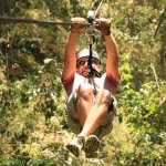 Having fun on the zip line!