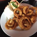 Spicy Chicken Wrap and Onion Rings