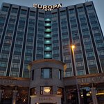 The front exterior of the Europa Hotel.