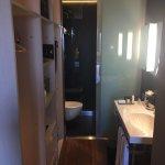 Looks darker than it was - very nice bathroom