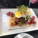 eggs benny with prawns - yummmmmmmmmmmmm that bacon though!