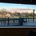 Outdoor seating, view of river from inside