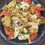 Greek salad with chicken.