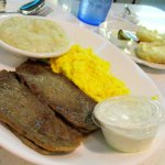 Gyro meat with grits and scrambled eggs