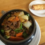 Hunan Beef rice bowl and egg roll; part of the lunch special.