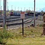 The ubiquitous east-west railroad tracks behind La Posada