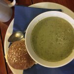 Pea soup and cheese roll