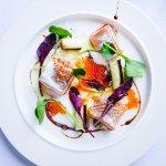 Salmon, caviar, spring onion, aceto tradizionale and coconut powder