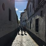 The narrow cobbled stone streets