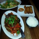 Szechuan Beef and Vegetable platter with vegetable egg rolls.