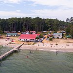 Aerial view of the campground. You can see our pier and the swimming area.