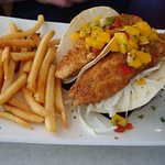 Fish taco with mango salsa