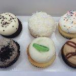 My first half dozen: chocolate and vanilla, coconut, vanilla birthday, cookies & cream, ?, ?